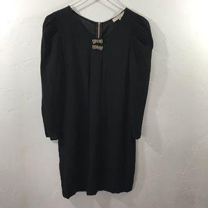 Sandro Beaded Bow Puff Sleeve Mini Dress